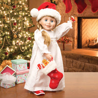 Christmas Traditions play set for all 18 inch dolls. Shown on Brianne doll with a Christmas tree.