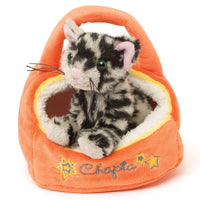Bengal cat Chapta in his orange plush cat house for Maplelea doll Alexi. Fits all 18 inch dolls.