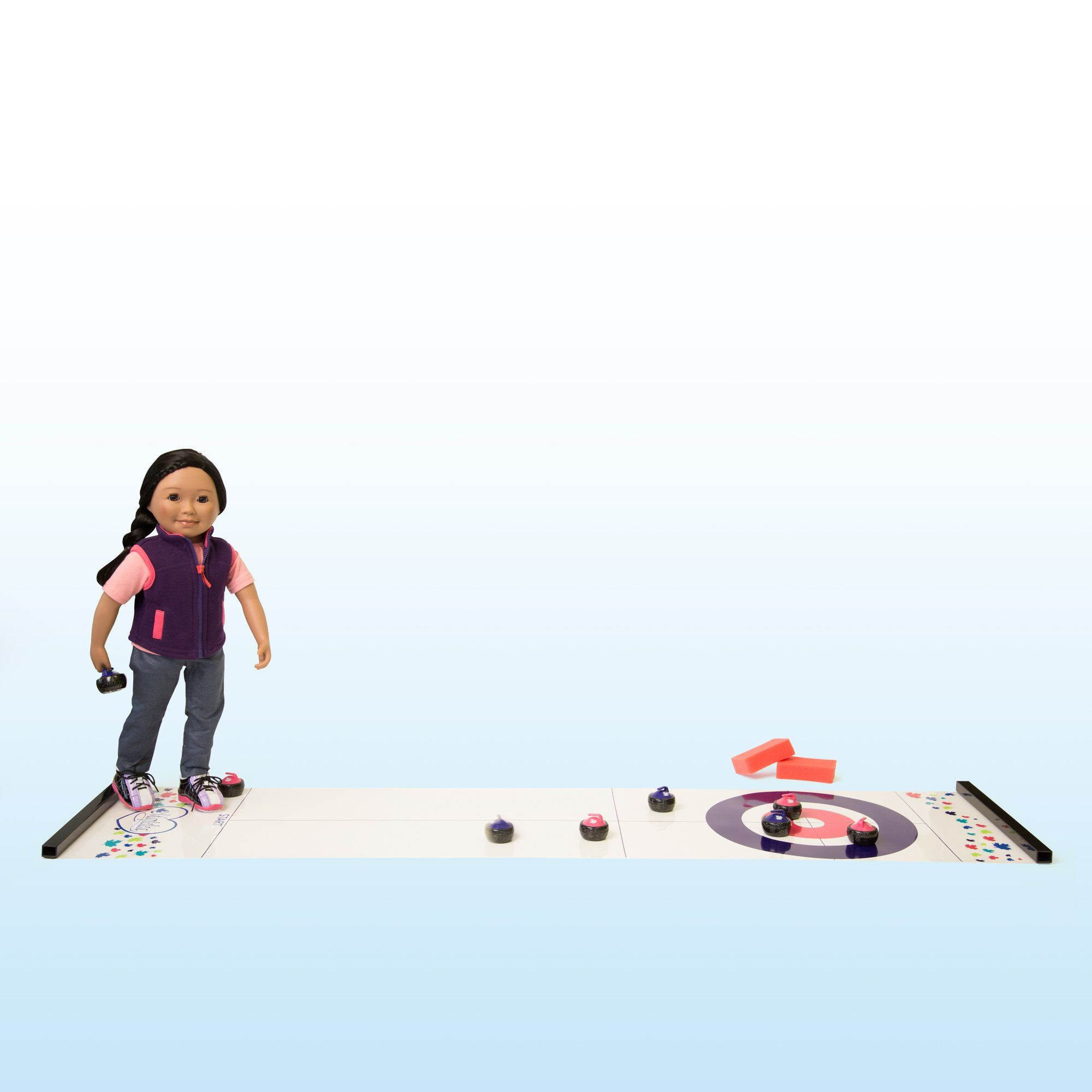 Curling play set with plastic ice surface, 8 curling stones, surface cleaners, booklet, rules and instructions, curling shoes and storage bag. For use with all 18 inch dolls.