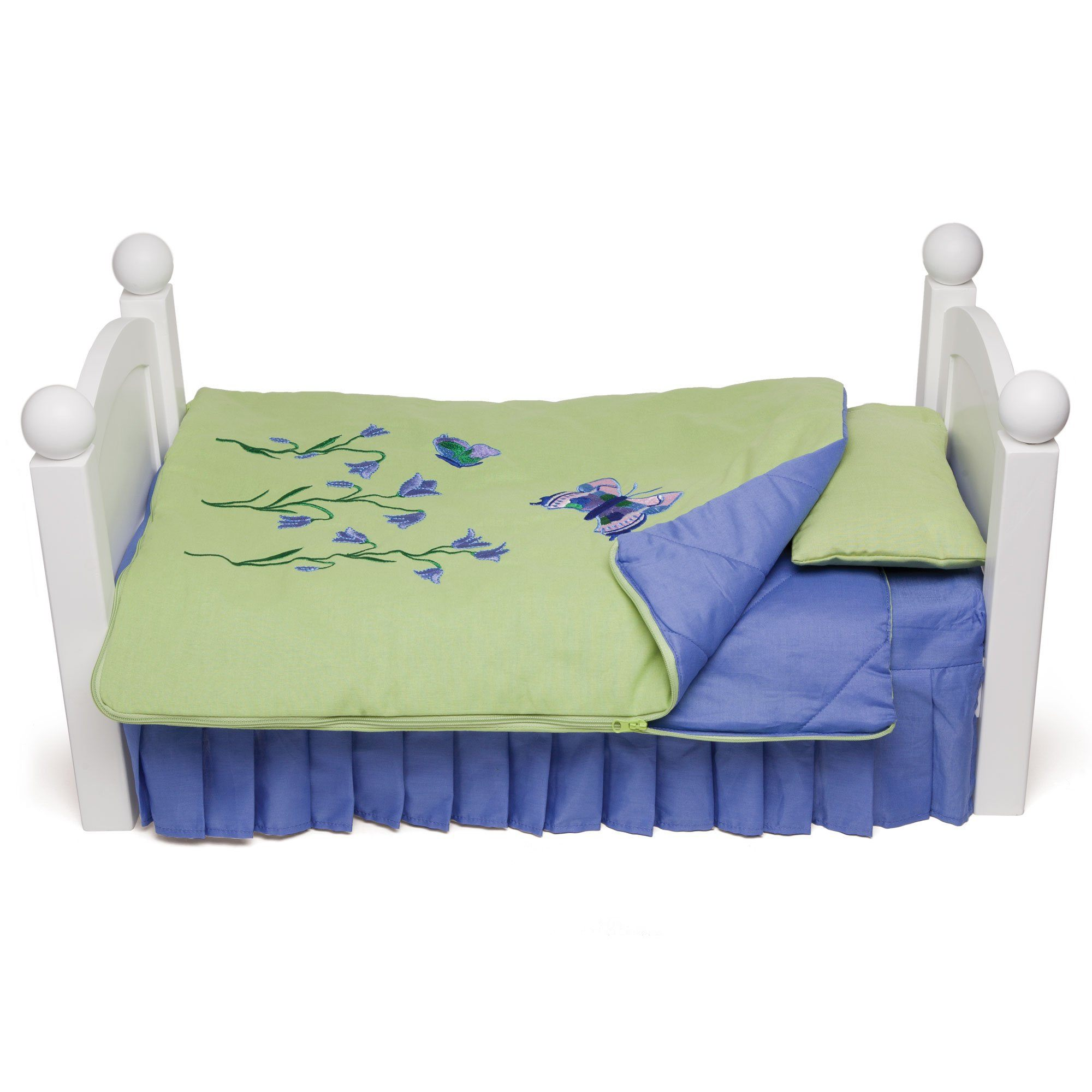 Green and purple butterfly bedding for Maplelea doll Taryn. Shown on KM1 Maplelea doll bed.