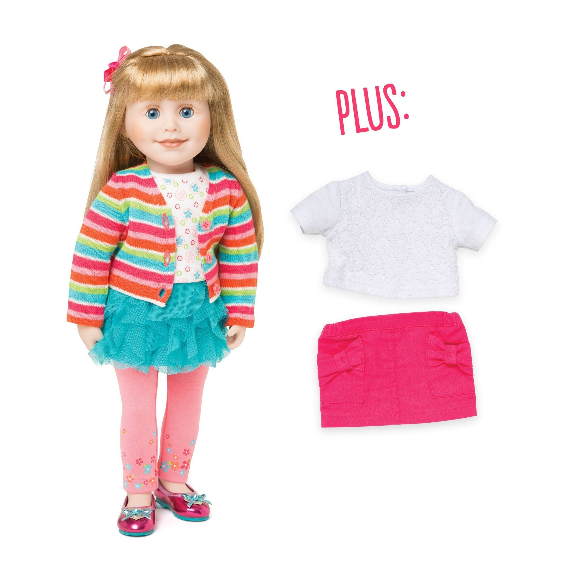18 inch doll with two tops, two skirts sweater leggings, shoes and hair decoration.