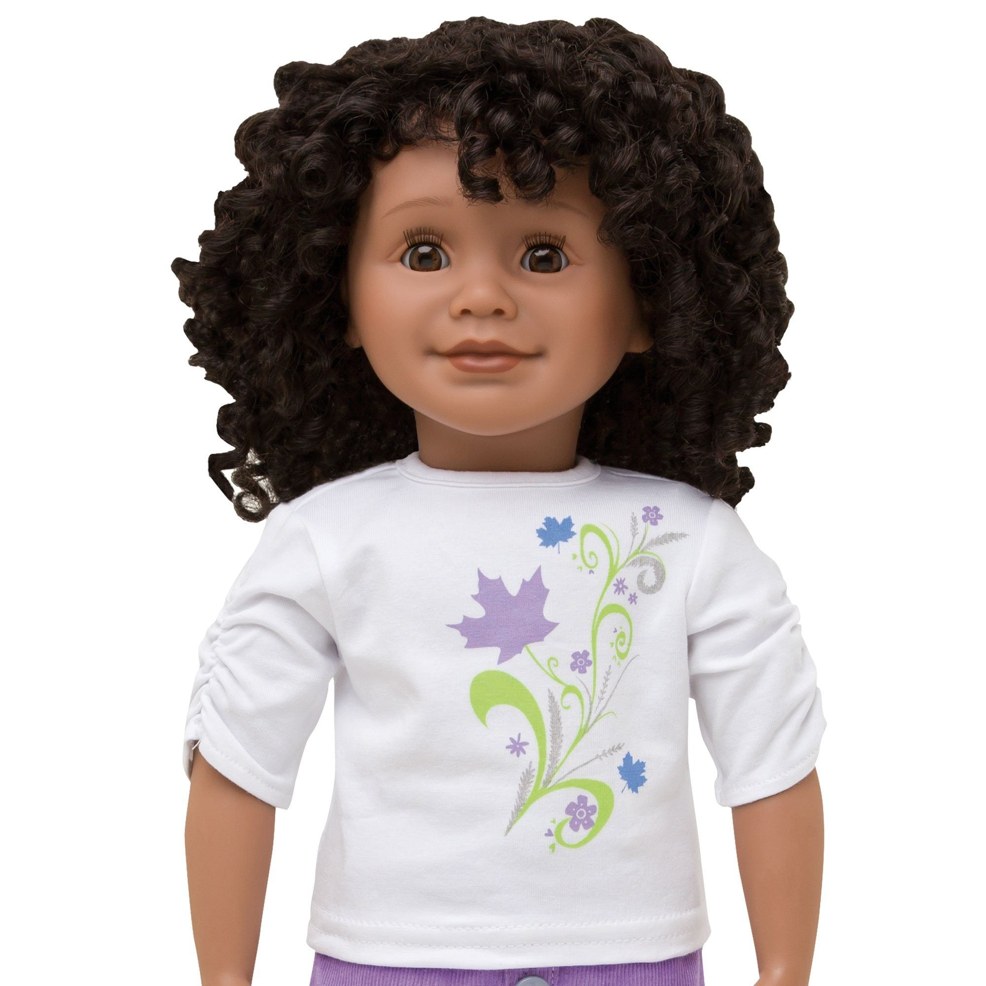 KMF11 Maplelea Friend with short curly black-brown hair, medium-dark skin, brown eyes