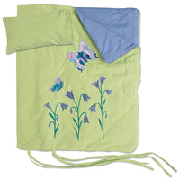 Green and purple butterfly bedding for Maplelea doll Taryn.