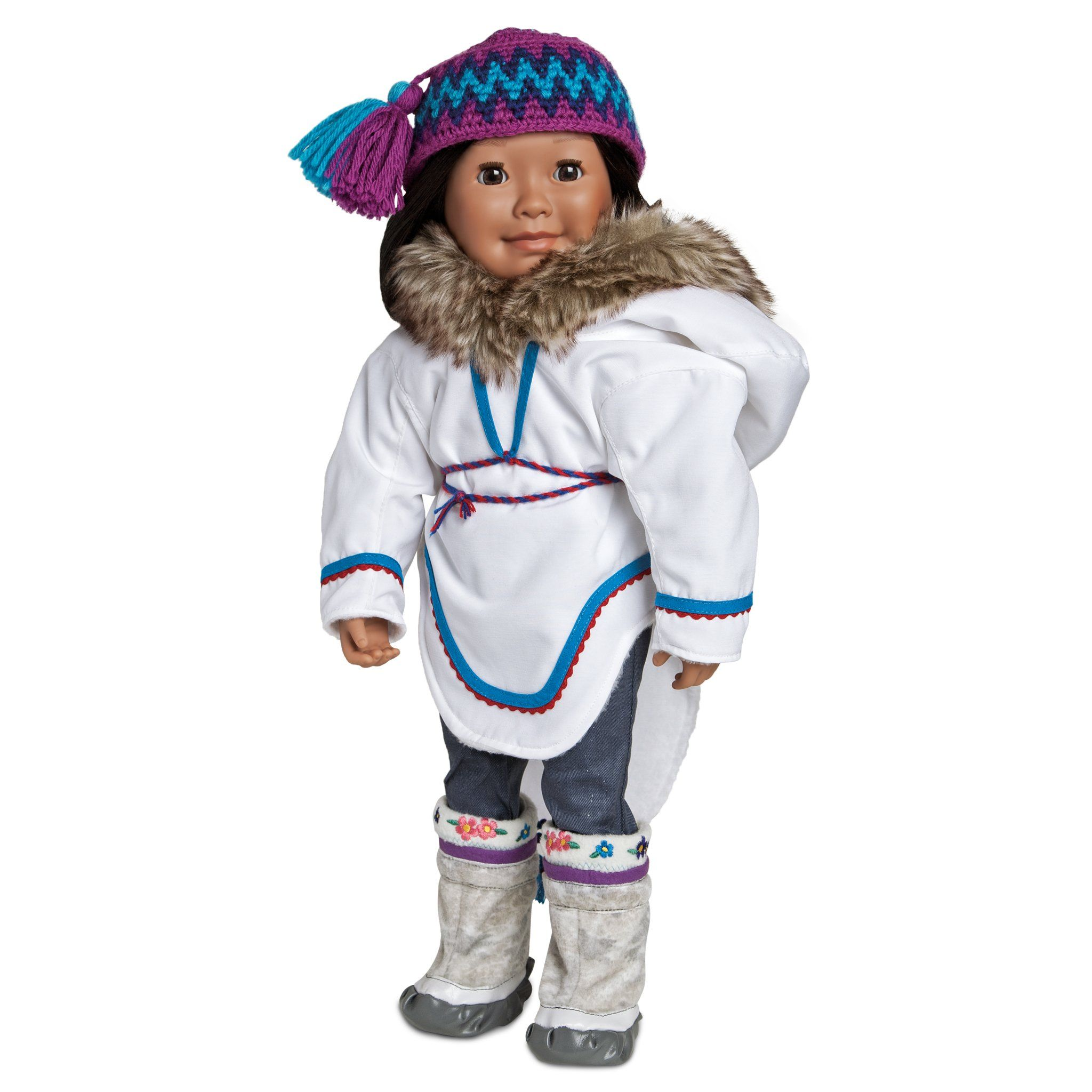 White amauti with purple, blue and faux fur trim shown on Maplelea doll Saila. Fits all 18 inch dolls