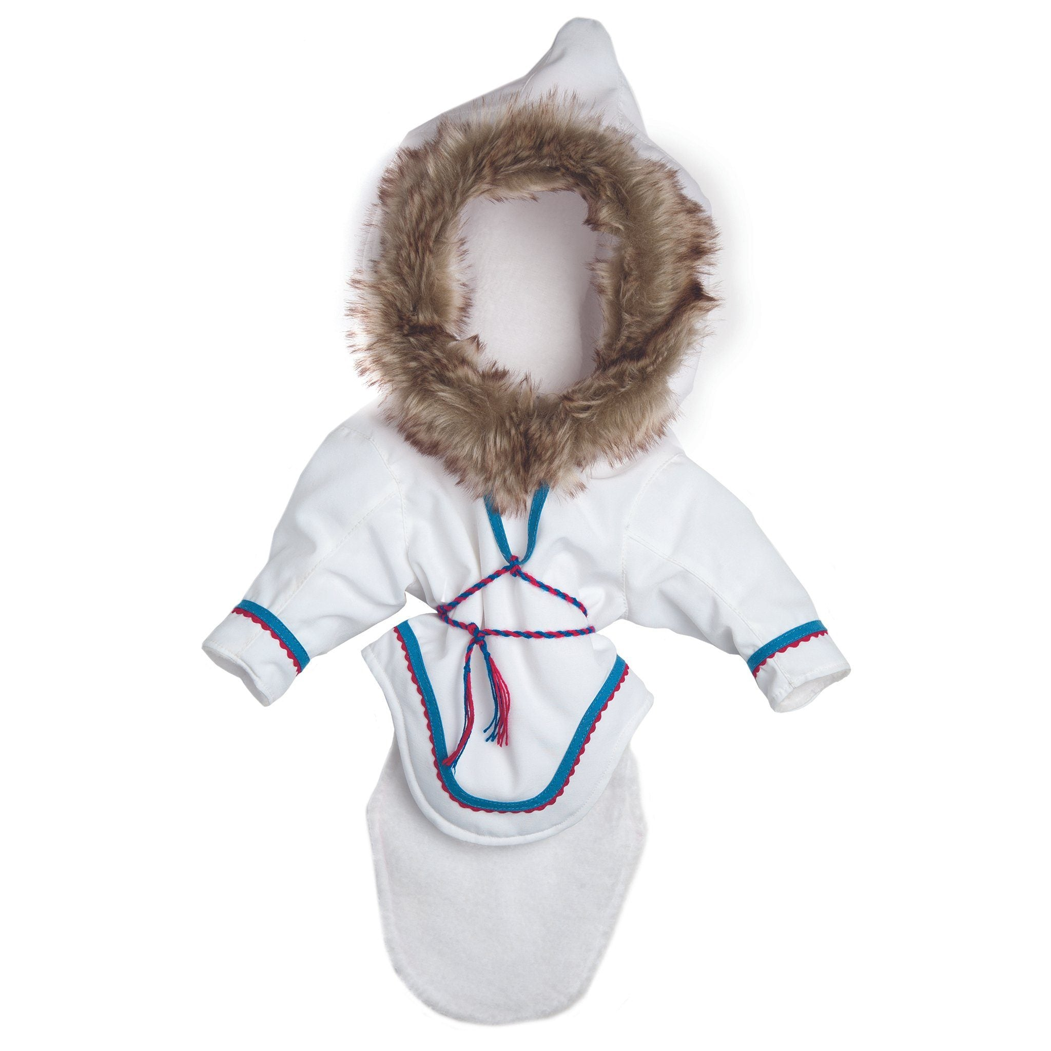 White amauti with purple, blue and faux fur trim fits all 18 inch dolls