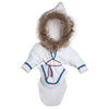 White amauti jacket with faux fur trim fits all 18 inch dolls. Traditional Inuit design.
