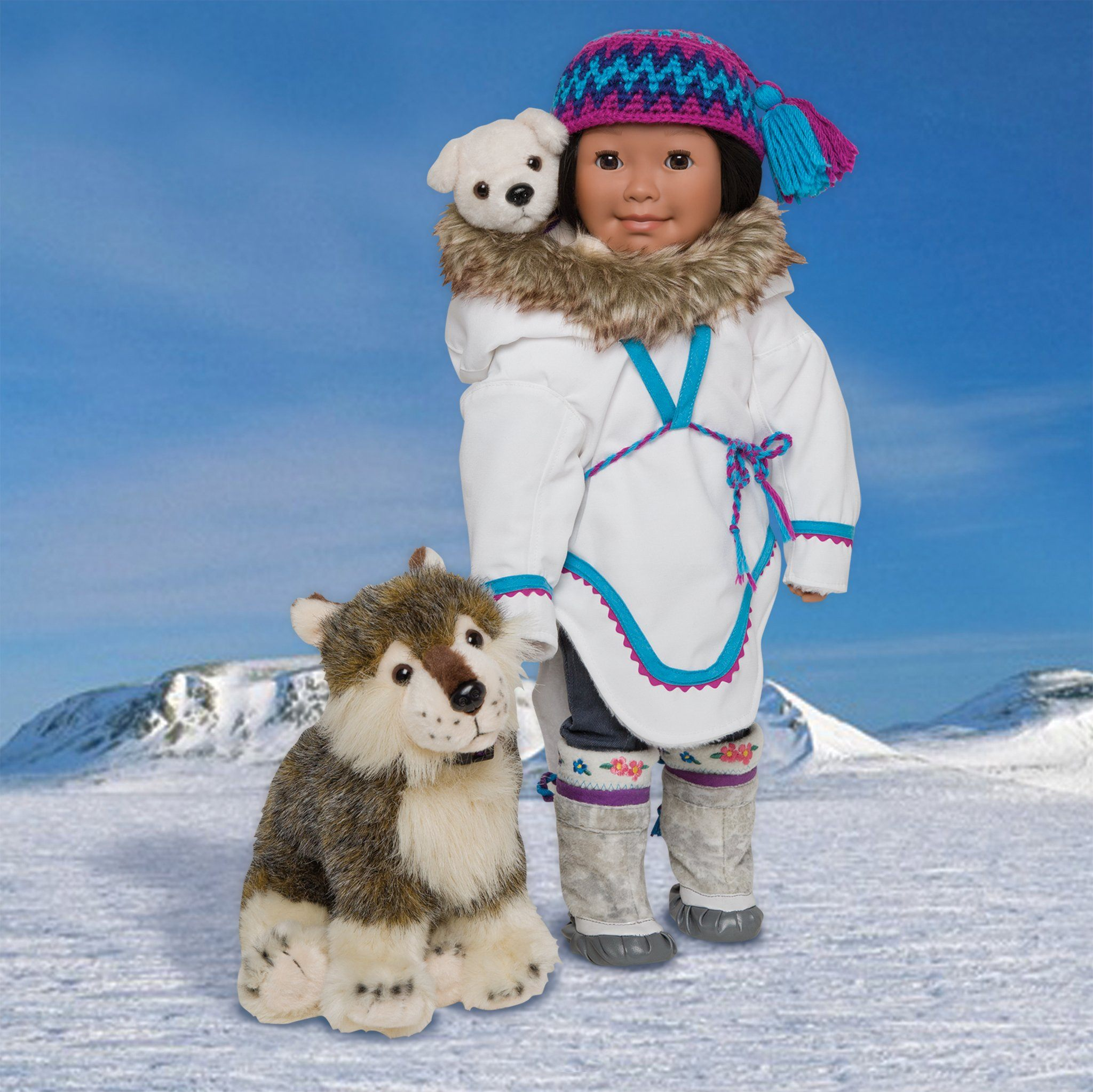 Amauti shown on Maplelea doll Saila with Pang Hat and 2 dogs Nuklilik and Nanuq on a Nunavut background.