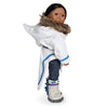 Side view of white amauti with purple, blue and faux fur trim fits all 18 inch dolls