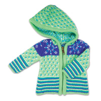 Green and purple zip up acres ski hooded sweater fits all 18 inch dolls