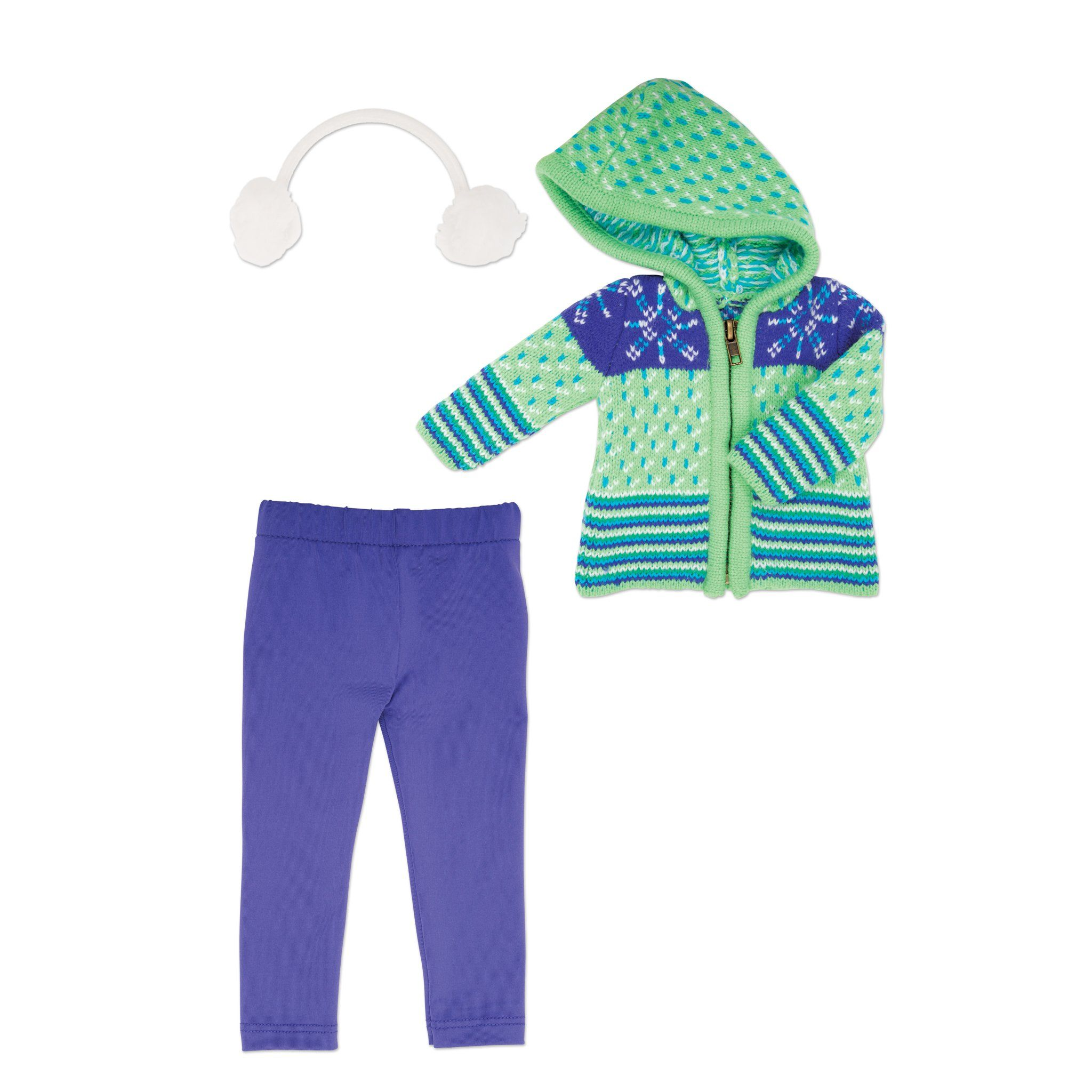 Green and purple zip up hooded sweater, purple tights, and white fluffy earmuffs fits all 18 inch dolls