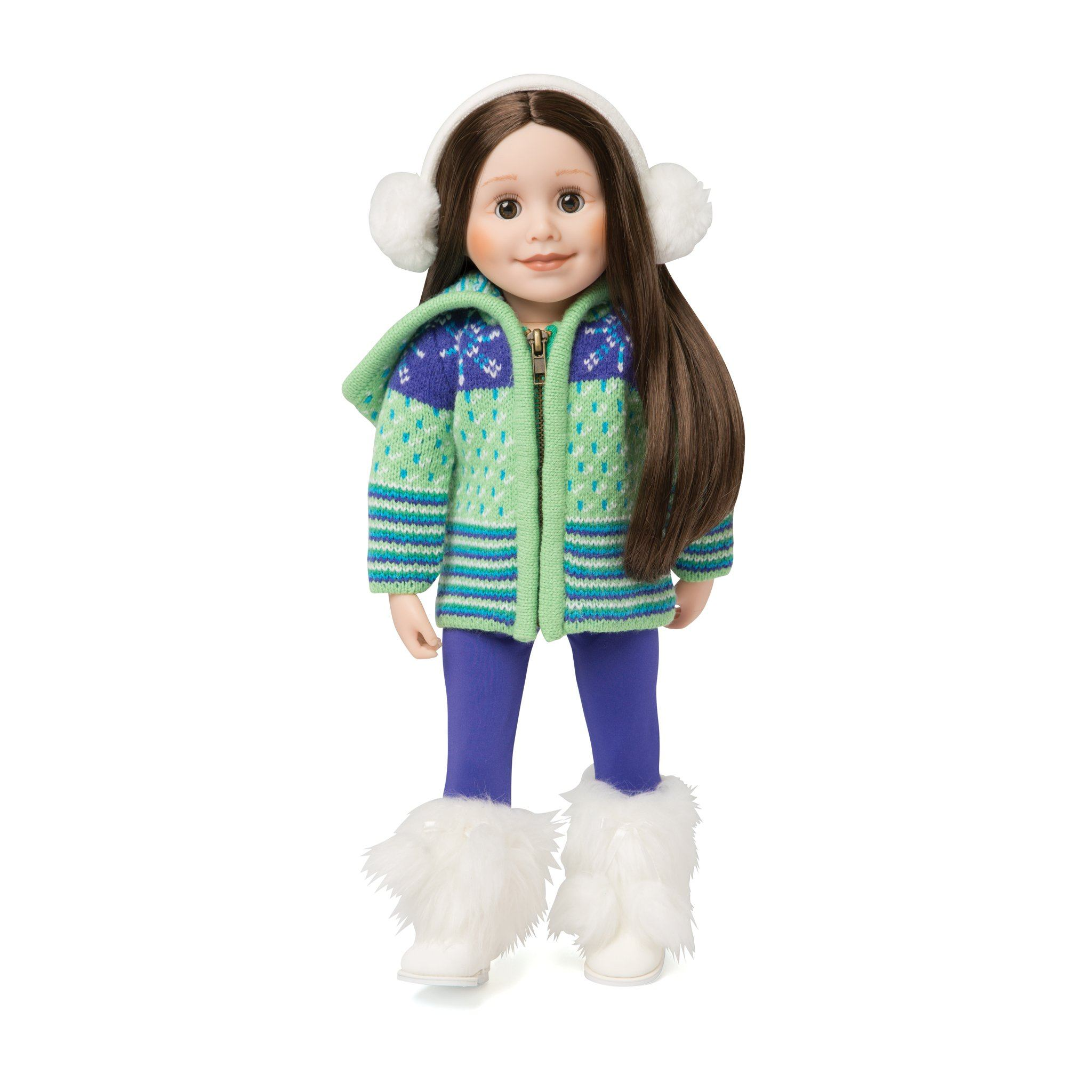 Colourful cozy apres ski green and purple zip up sweater, purple tights, and white fluffy earmuffs. Fits all 18 inch dolls. Shown with white fluffy Maple Lodge boots.