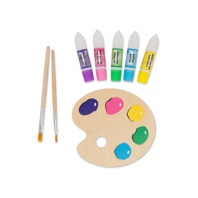 Painter's pallette, 2 paint brushes and 5 pretend paint tubes for 18 inch dolls