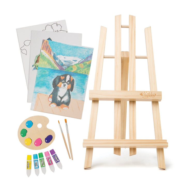 "Art set wil easel, artboards, paint palette, 2 paint brushes and 5 pretend paint tubes for 18"" dolls"