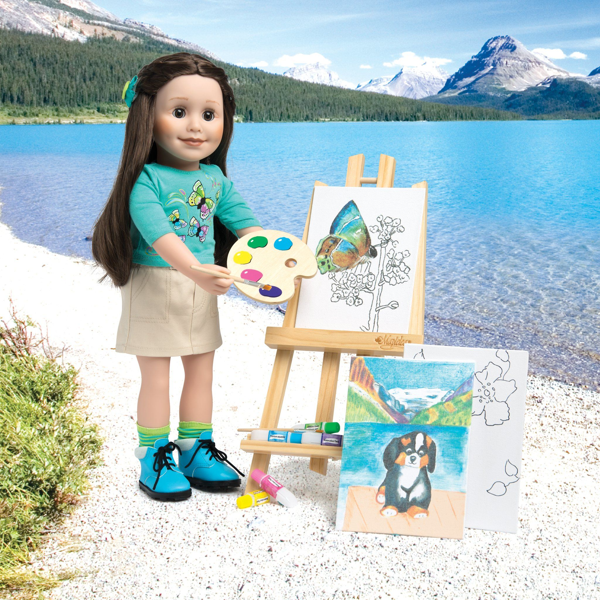 Art set for 18 inch dolls shown with Maplelea Canadian Girl Doll, Taryn