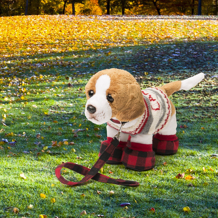 Buffalo plaid dog accessory set for dolls. Rope toy, collar, leash and doggie sweater shown on Breton the puppy in an autumn park.