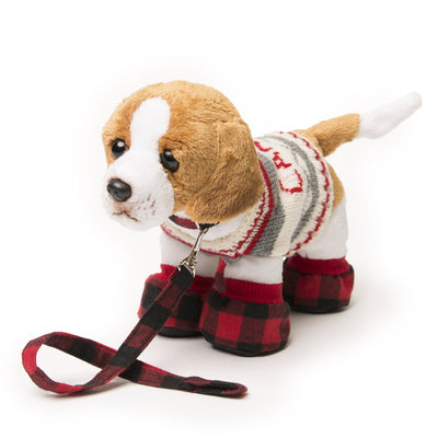 Buffalo plaid dog accessory set for dolls. Rope toy, collar, leash and doggie sweater shown on Breton the puppy..