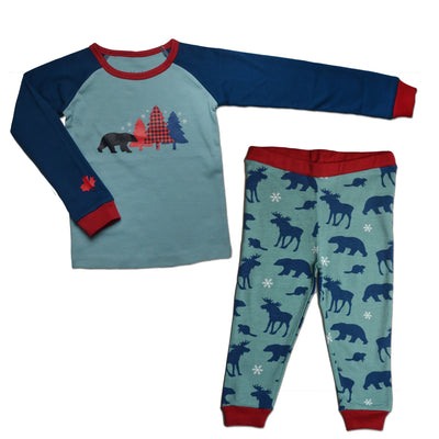 matching pajamas for adults, kids, toddlers and 18 inch doll.  PJs with Canadian flair