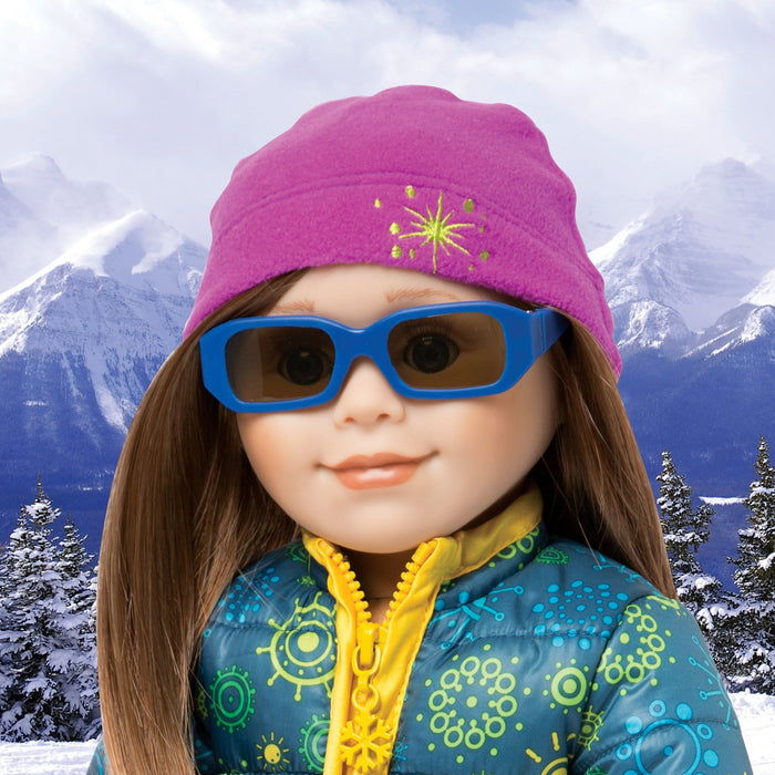 Blue sunglasses shown on KC1 Charlsea doll. Fits all 18 inch dolls.