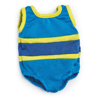 Blue and Yellow swimsuit and matching watershoes fits all 18 inch dolls.