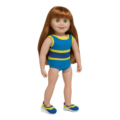Blue and Yellow swimsuit and matching watershoes fits all 18 inch dolls. Shown on KJ1 Jenna doll.