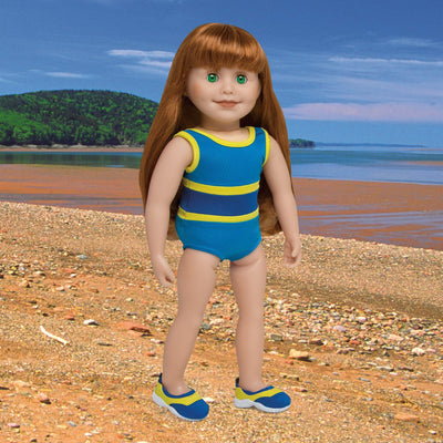 Blue and Yellow swimsuit and matching watershoes fits all 18 inch dolls. Shown on KJ1 Jenna doll in a Nova Scotia background.