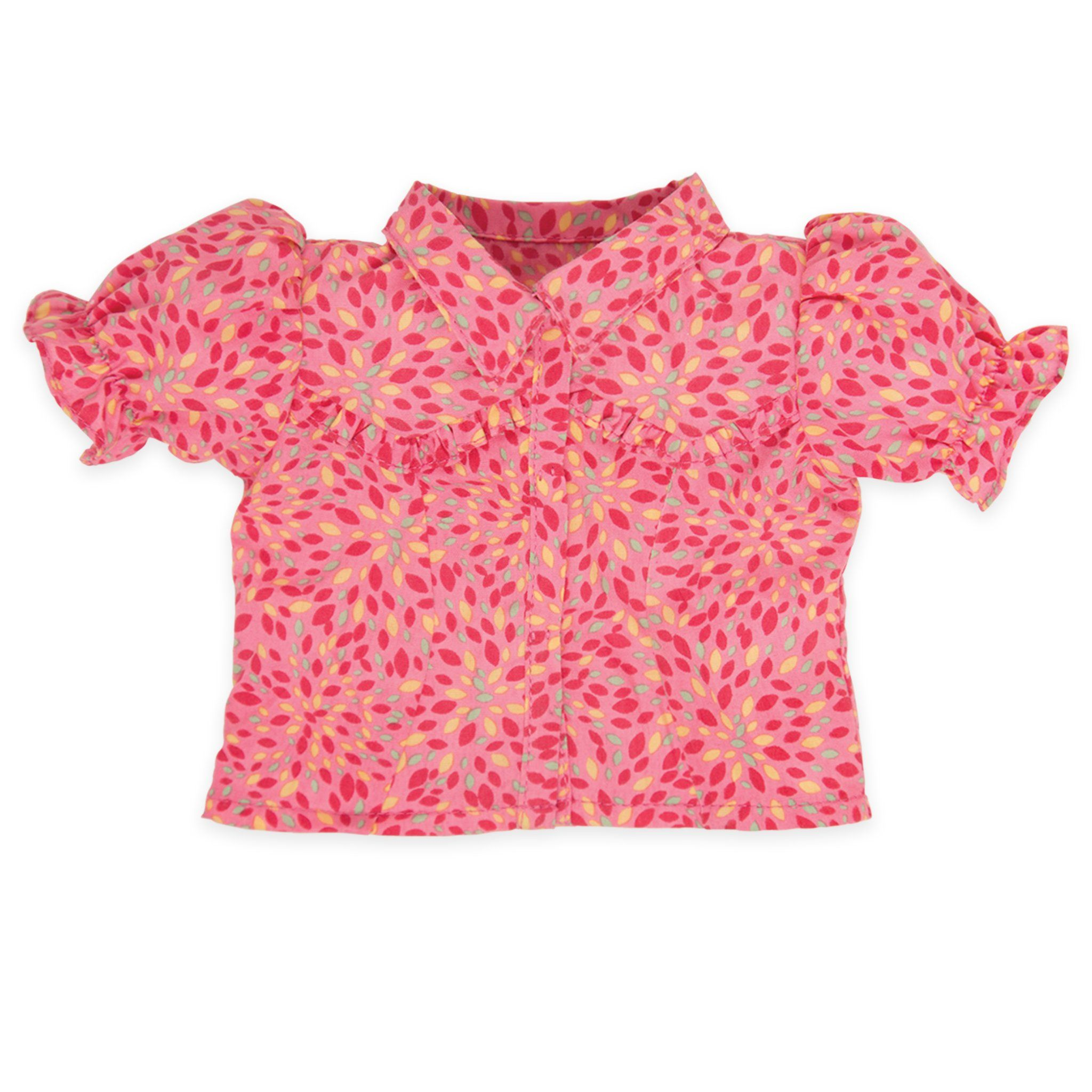Brianne's starter outfit pink patterned blouse fits all 18 inch dolls.