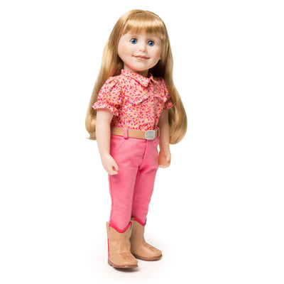 Brianne's starter outfit pink pants, pink patterned blouse, tan belt with sparkly buckle and tan riding boots fits all 18 inch dolls.