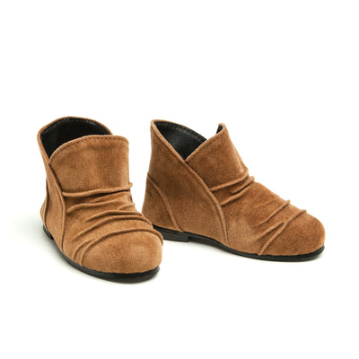 Brown suede-like booties fits all 18 inch dolls.