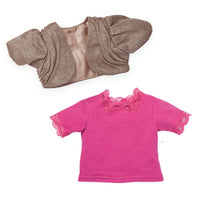 Silvery brown bolero sweater, bright pink top, fits all 18 inch dolls.