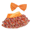 Colourful floral tiered skirt, orange hair bow, fits all 18 inch dolls.