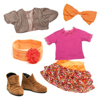 Colourful floral tiered skirt, silvery brown bolero sweater, bright pink top, orange cummerbund with flower, orange hair bow, brown suede-like booties fits all 18 inch dolls.