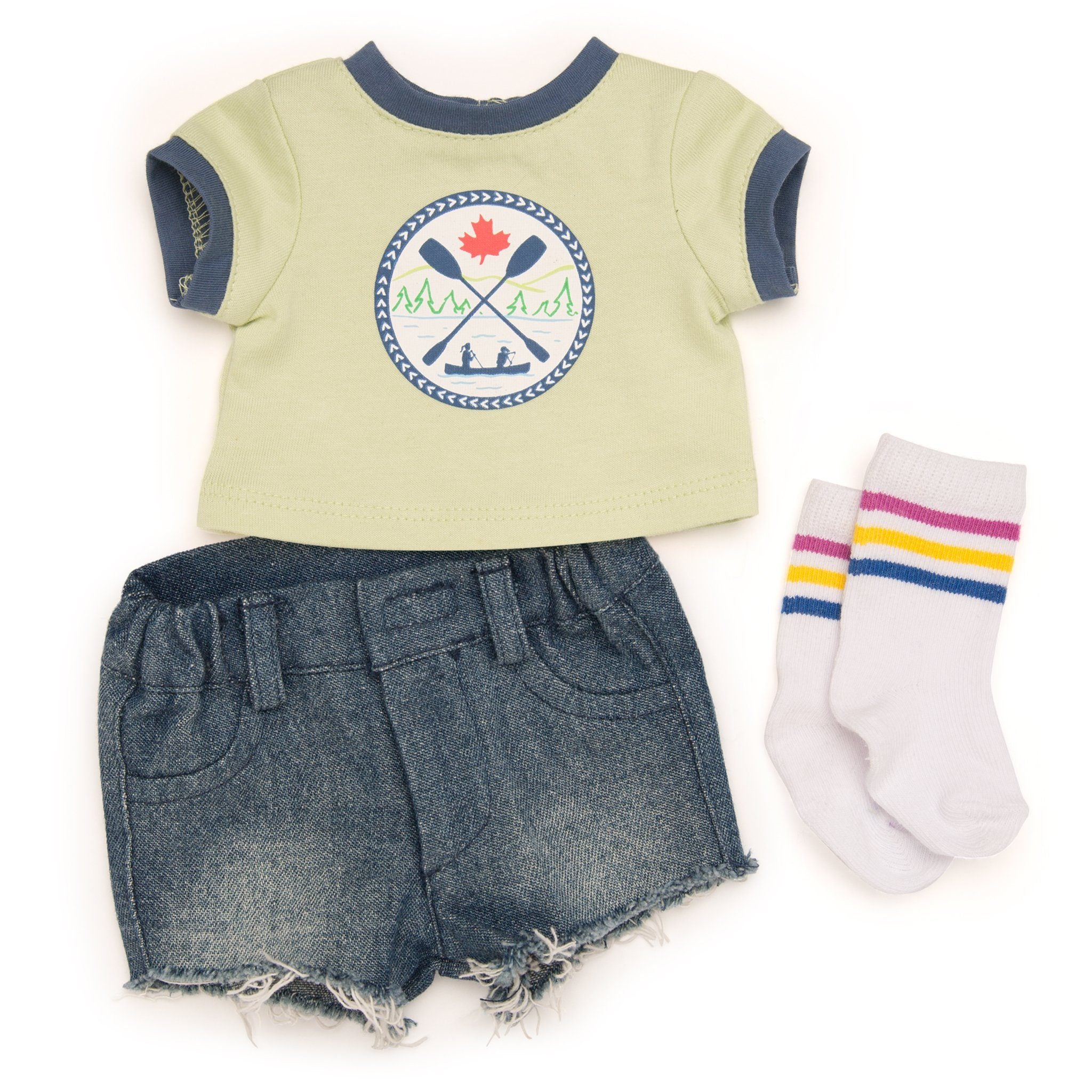 Camp Style outfit cut-off jean shorts, ringer tee with logo, striped socks fits all 18 inch dolls.