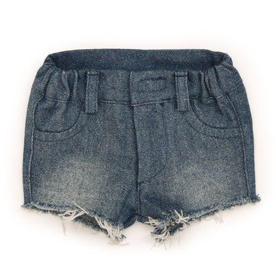 Camp Style outfit cut-off jean shorts fits all 18 inch dolls.