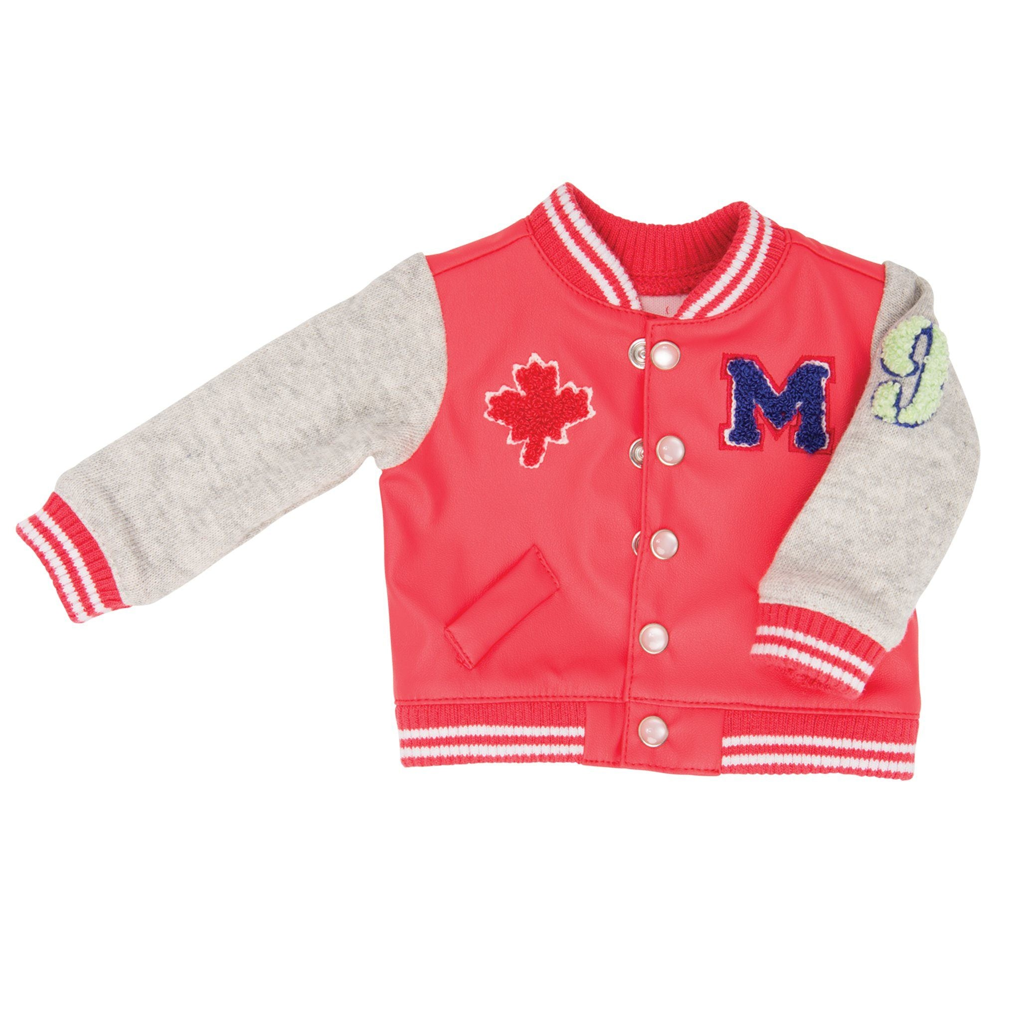 Campus Collection varsity jacket fits all 18 inch dolls.