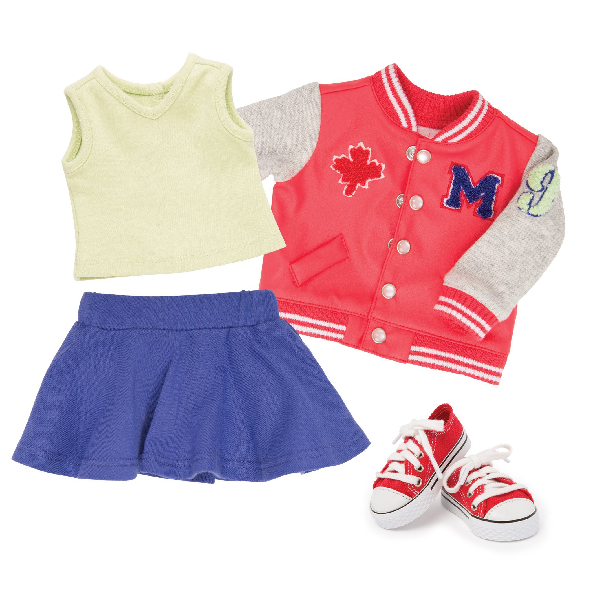Campus Collection varsity jacket, purple skirt, light green sleeveless tee and red sneakers fits all 18 inch dolls.