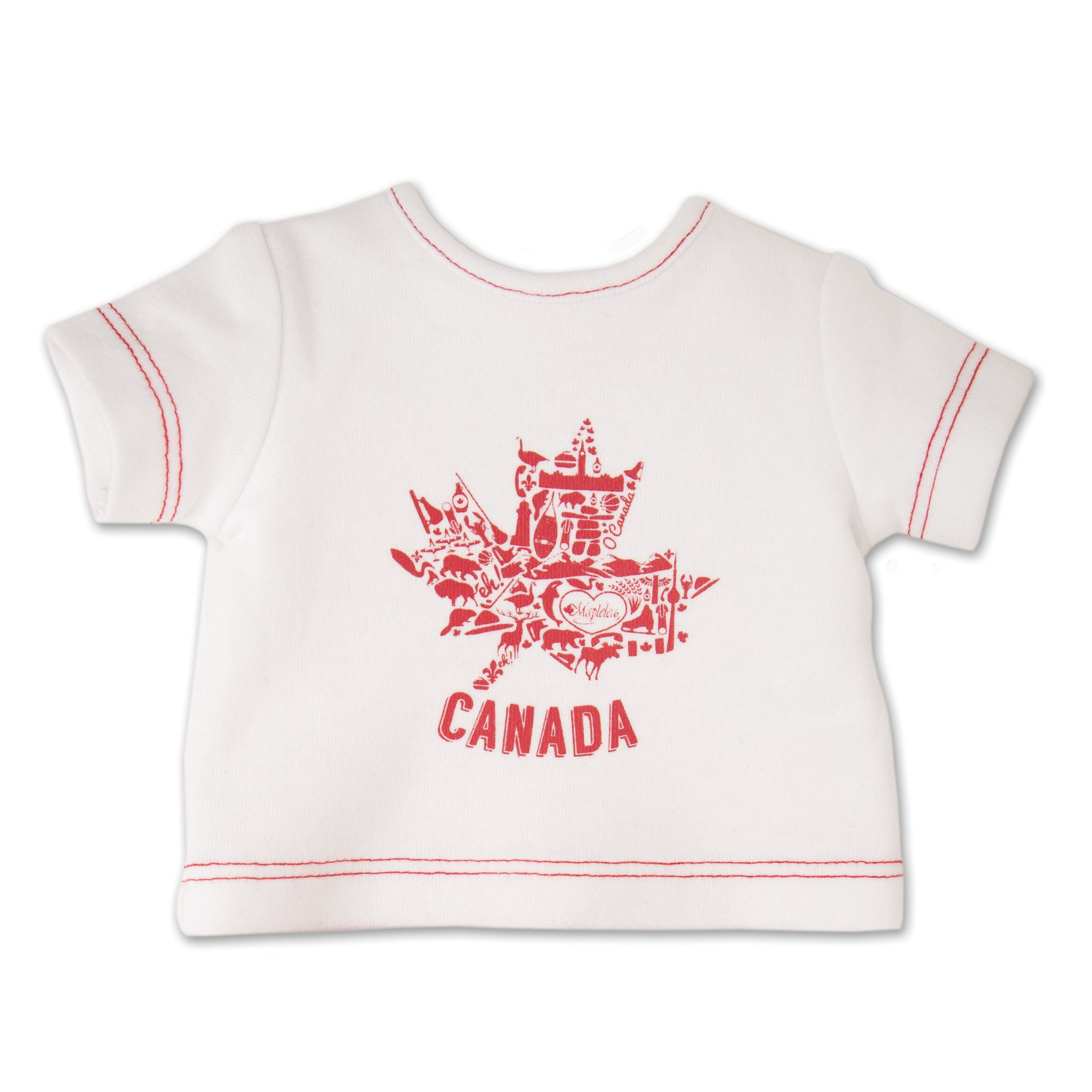 Canada Day Outfit graphic tee-shirt fits all 18 inch dolls.
