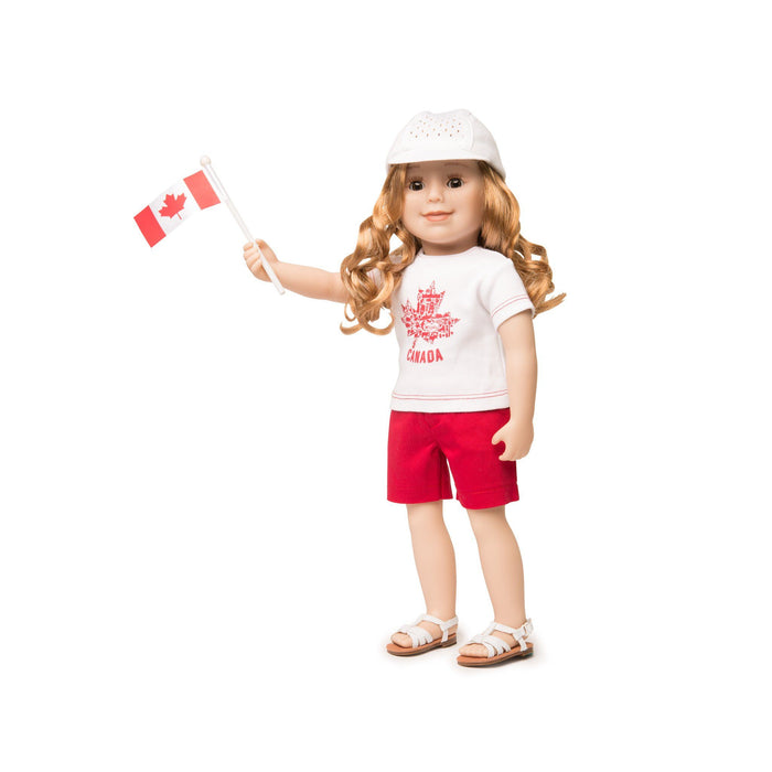 Canada Day Outfit graphic tee-shirt, red shorts, runners cap and Canada flag fits all 18 inch dolls. Shown on Maplelea Friends doll KMF28.