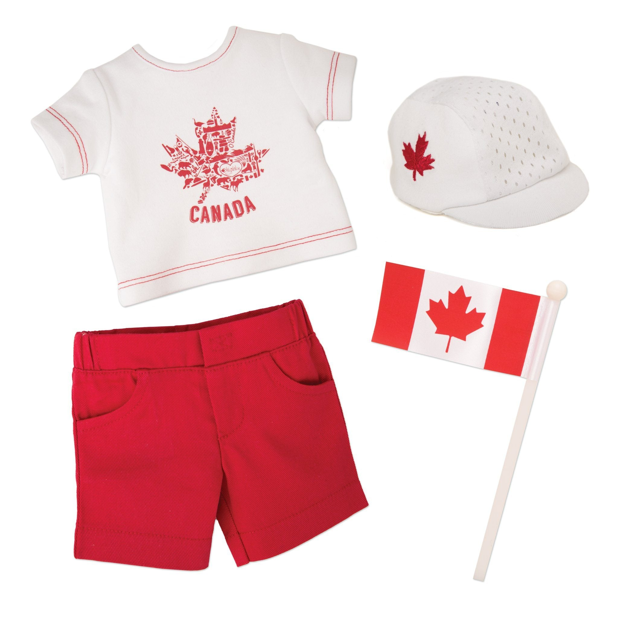 Canada Day Outfit graphic tee-shirt, red shorts, runners cap and Canada flag fits all 18 inch dolls.
