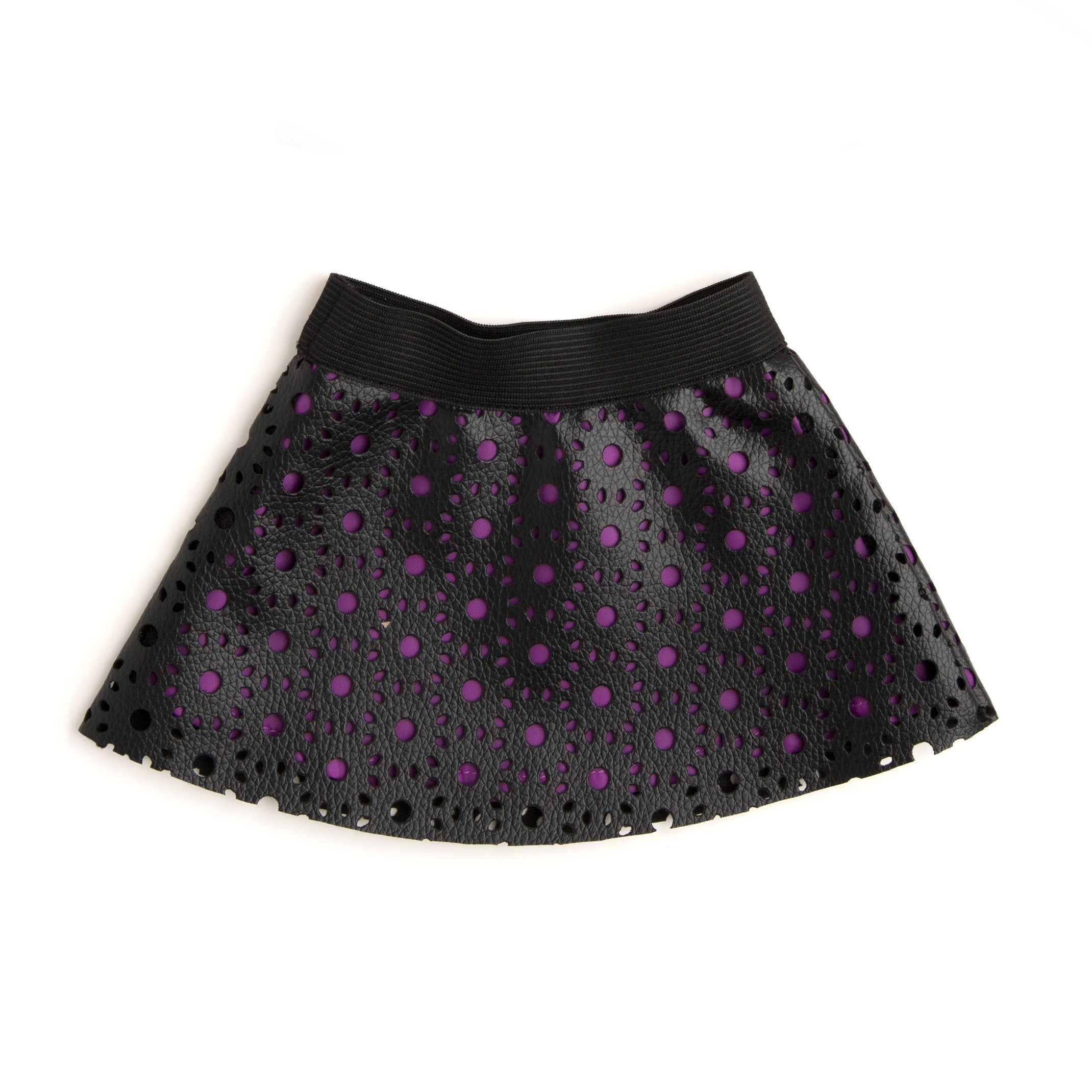 Fashionable leather-like skirt with cutouts for 18 inch doll