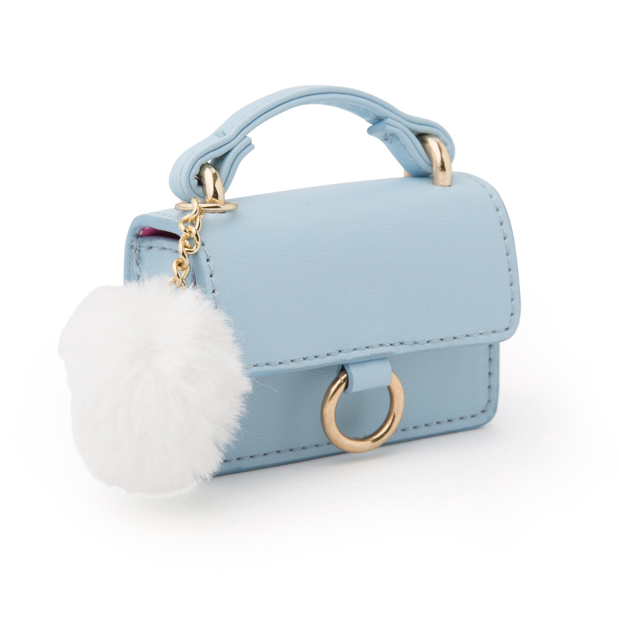 "Pale blue purse with white pom pom for 18"" dolls"