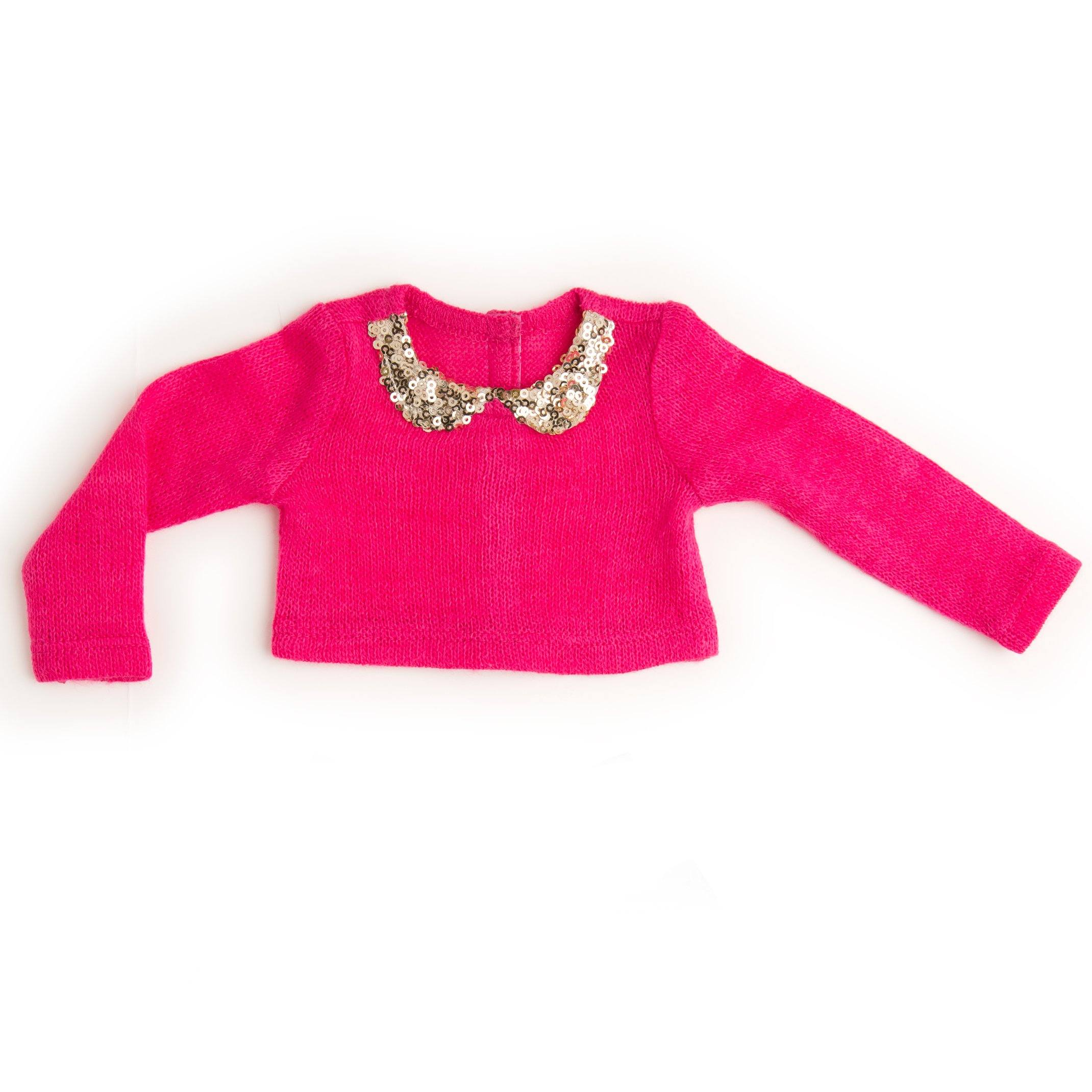 pink sweater with sparkly collar for 18 inch doll
