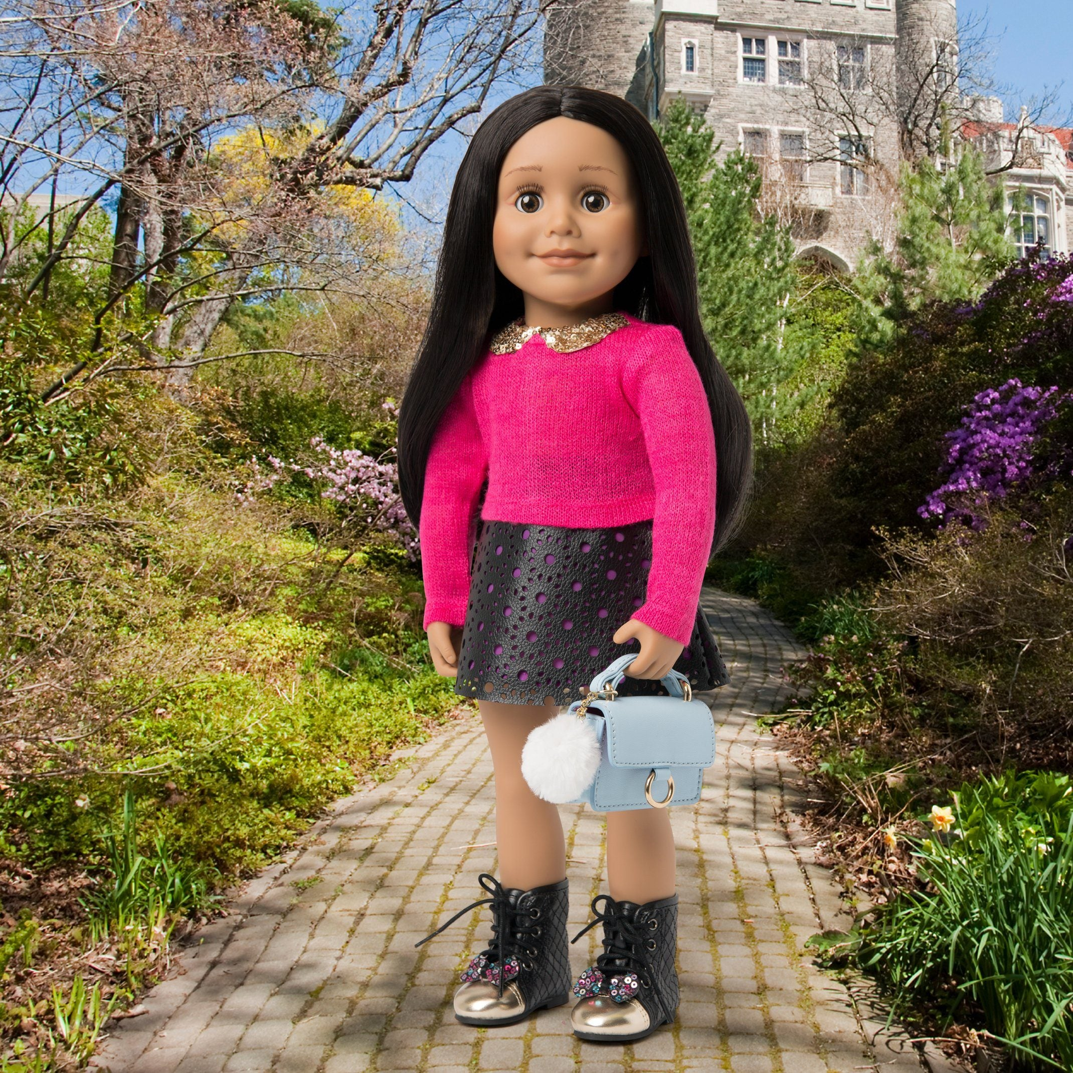 Pink sweater and leather-like skirt for 18 inch dolls