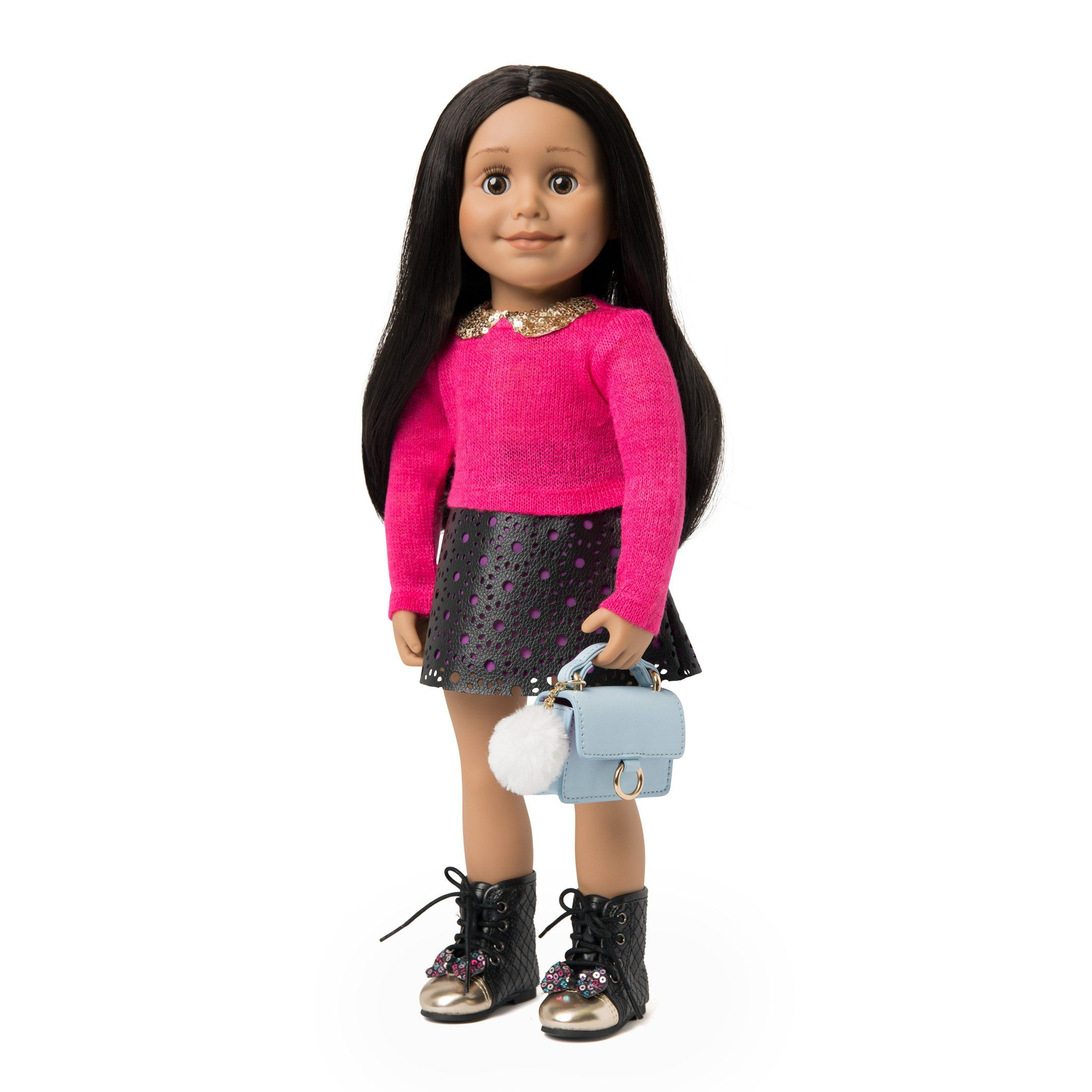 "Pink sweater and leather like skirt for 18"" dolls"