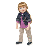 Embroidered denim jacket, khaki pans and long sleeved pink shirt on 18 inch doll Brianne