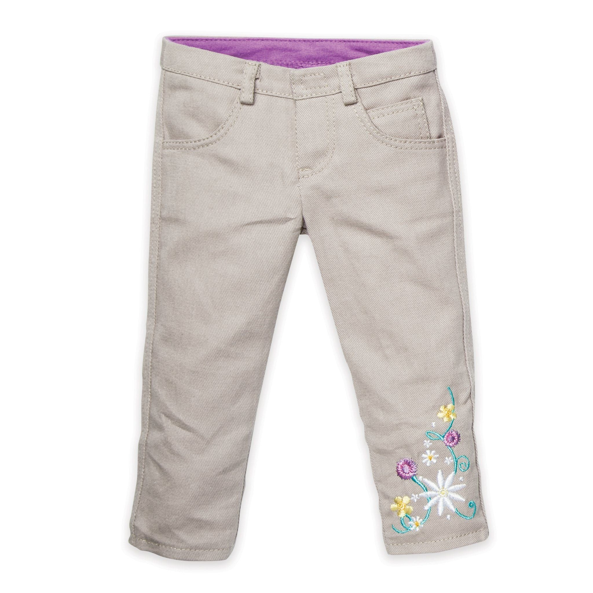 Khaki pants with embroidery for all 18 inch dolls
