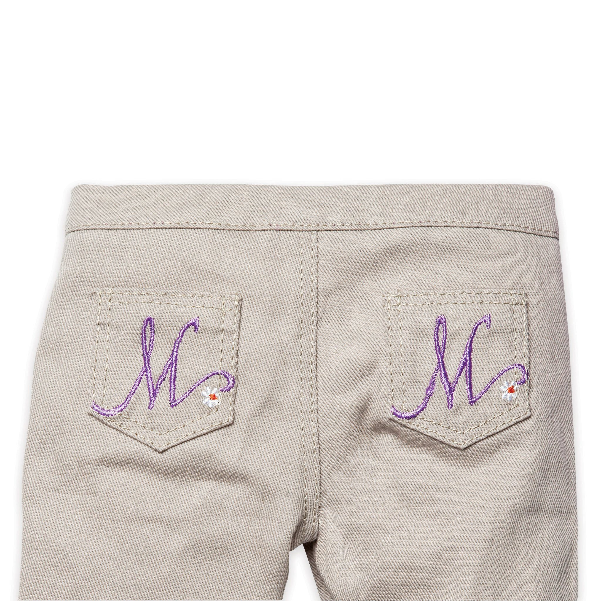 Back detail on khaki pants for 18 inch dolls
