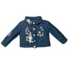 Manitoba Wildflowers embroidered on denim jacket fits all 18 inch dolls.