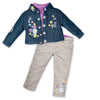 Embroidered denim jacket and khaki pants fits all 18 inch dolls