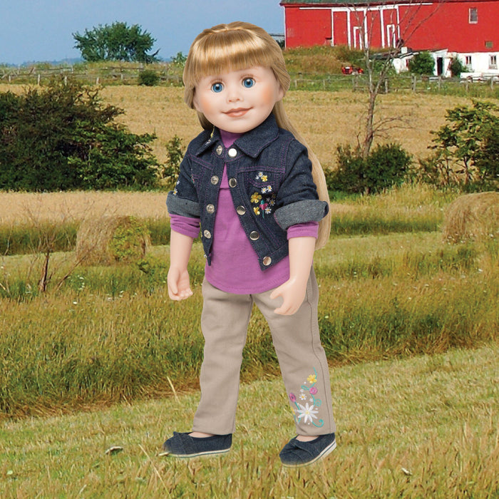 Embroidered denim jacket, khaki pants and long sleeved pink shirt on 18 inch doll Brianne