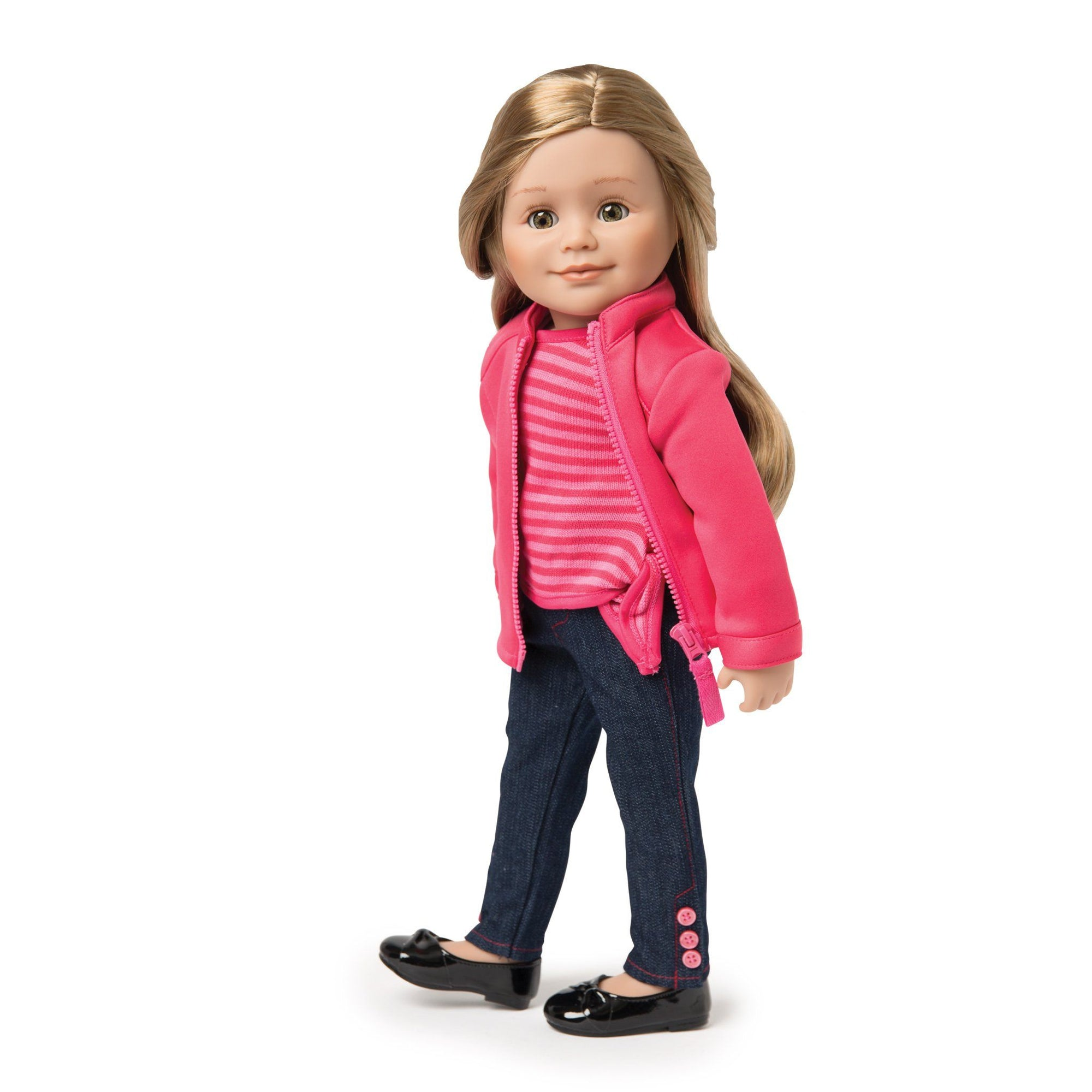 Cirque du Monde pink zip-up sweater, pink striped side-tie shirt, skinny jeans with ankle buttons shown on KL1 Leonie doll. Fits all 18 inch dolls.